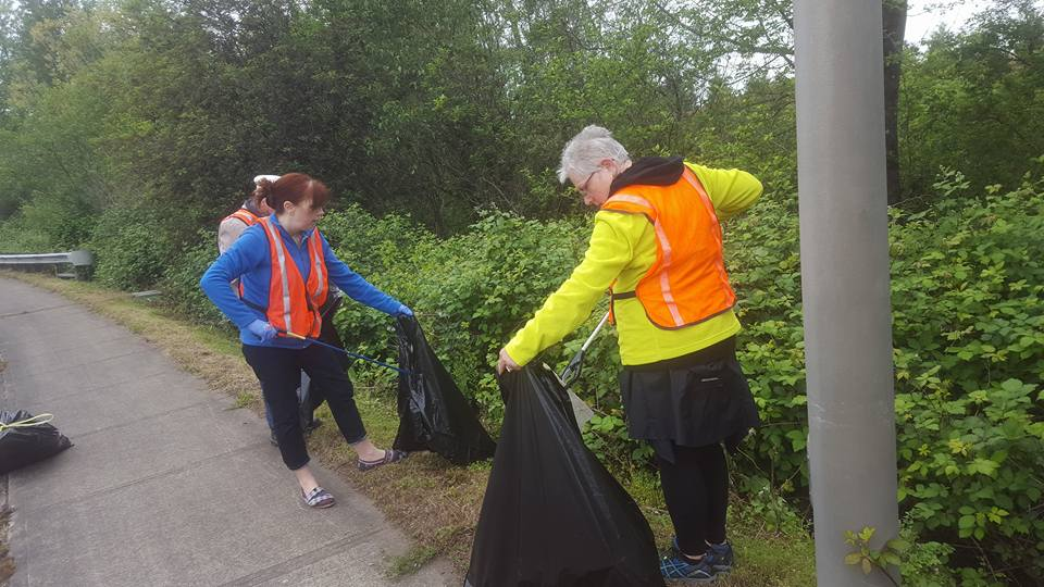 FOF Volunteers picking up litter